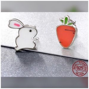 .925 Sterling Silver Enamel Rabbit Carrot Earrings